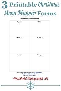 Free printable Christmas menu planner {on Household Management 101}