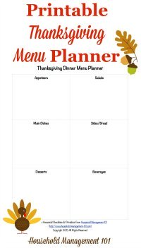 Free printable Thanksgiving menu planner {on Household Management 101}