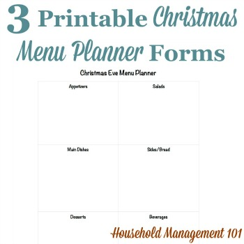 Christmas menu planner forms