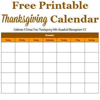 Thanksgiving calendar
