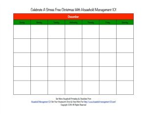 Free printable blank Christmas calendar for the month of December {on Household Management 101}