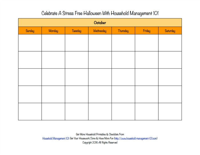 Free printable blank Halloween calendar for the month of October {on Household Management 101}