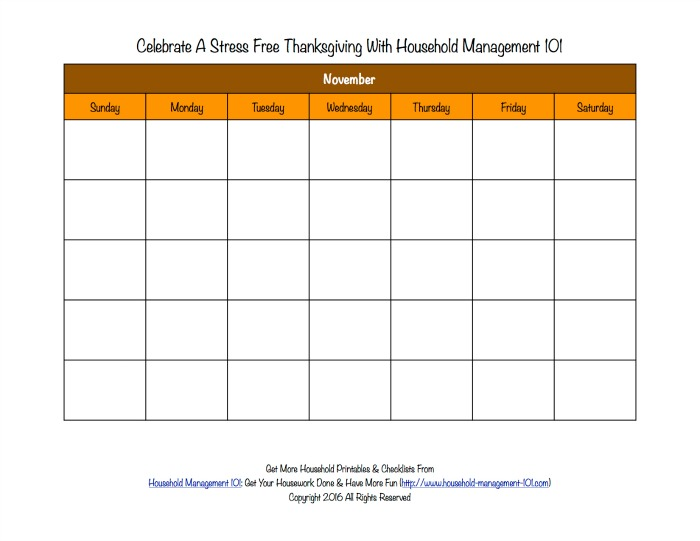 Free printable blank Thanksgiving calendar for the month of November {on Household Management 101}