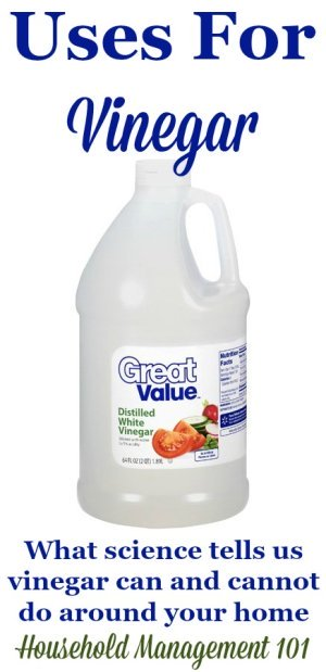 What science tells us about the uses for vinegar, so you know the home remedies and homemade cleaner recipes using this acidic product will actually work, and debunking incorrect claims about vinegar uses {on Household Management 101} #UsesForVinegar #VinegarUses #VinegarCleaning