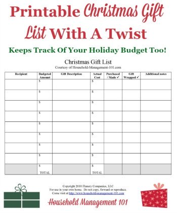 Free printable christmas gift list with a twist, since it not only keeps track of which gifts you plan to and have purchased, where you've hidden them, if you've wrapped them yet, and also it keeps track of your holiday gift budget too! {courtesy of Household Management 101}