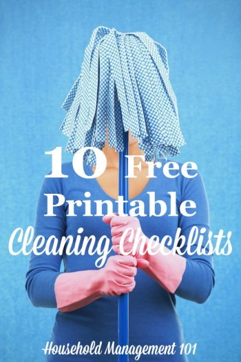 10 free printable cleaning checklists you can add to your household notebook, courtesy of Household Management 101