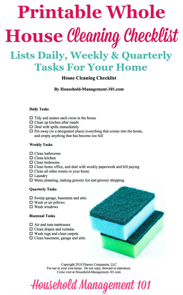 Free Printable Whole House Cleaning Checklist Giving A Big Picture Overview Of Daily Weekly