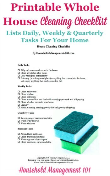 Printable Whole House Cleaning Checklist: How To Keep Your Home ...