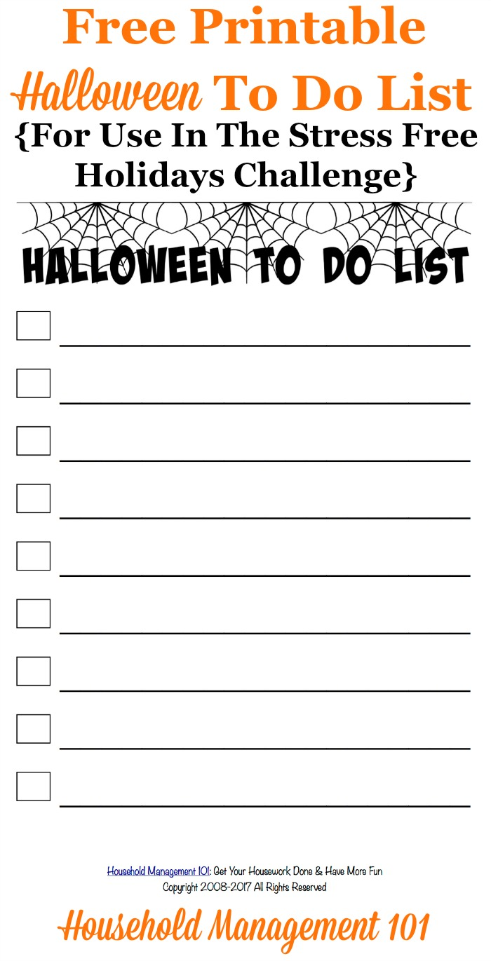 Free printable Halloween to do list, for use in the Stress Free Holidays Challenge, to track the tasks you need to accomplish before the holiday {courtesy of Household Management 101} #HalloweenToDoList #HalloweenPlanning #HalloweenPrintable