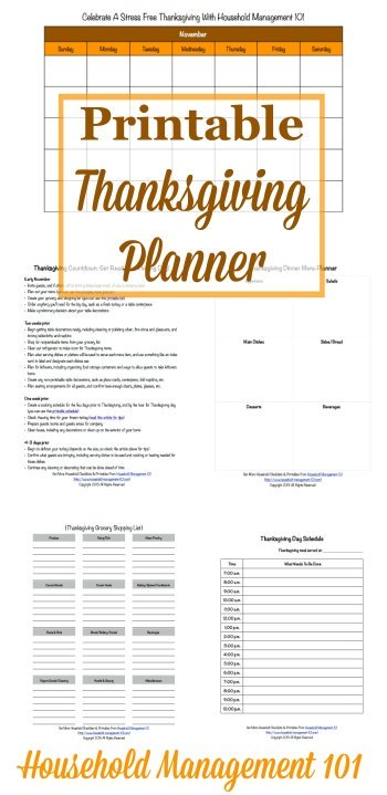Get ready for a stress free #Thanksgiving holiday with this free Thanksgiving planner. It contains 6 printable forms to help you get yourself organized {courtesy of Household Management 101} #ThanksgivingPlanner #ThanksgivingPrintables