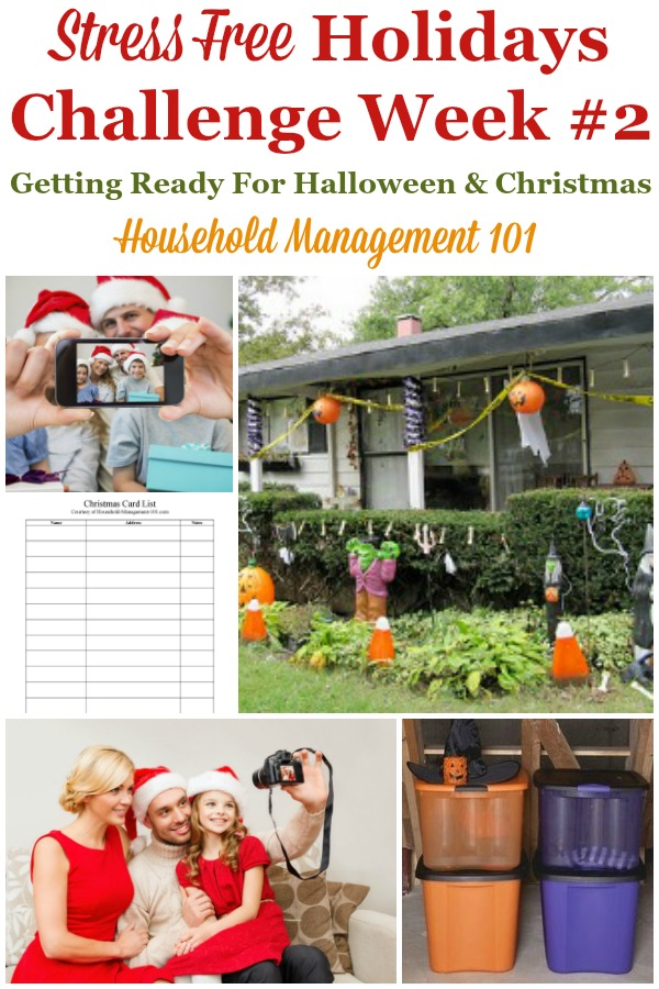 Week #2 of the Stress Free Holidays Challenge is all about getting ready for Halloween and Christmas, and includes free printables and organizing tips {on Household Management 101} #StressFreeHolidays #HalloweenPlanning #ChristmasPlanning