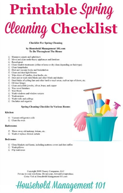 Free #printable spring cleaning checklist, courtesy of Household Management 101 #SpringCleaning #CleaningChecklist