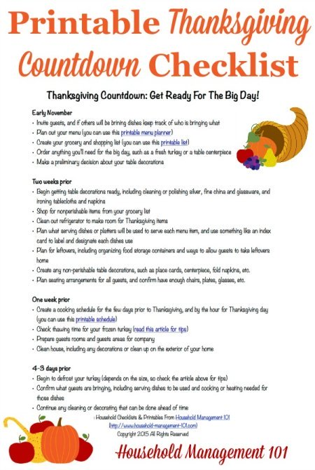 Free printable #Thanksgiving countdown planner and checklist to get ready for the big day {courtesy of Household Management 101} #ThanksgivingPlanner #ThanksgivingPlanning
