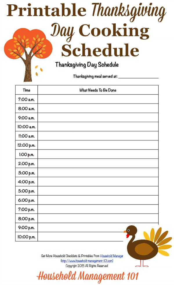 Free printable Thanksgiving day schedule for use as your cooking countdown to the big meal, courtesy of Household Management 101