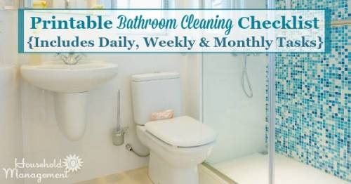 Free Printable Bathroom Cleaning Checklist, Which Includes Daily, Weekly  And Monthly Tasks {courtesy