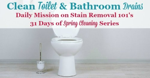 Clean toilet and bathroom drains as your mission for the day, as part of the 31 Days of #SpringCleaning Challenge {on Stain Removal 101}