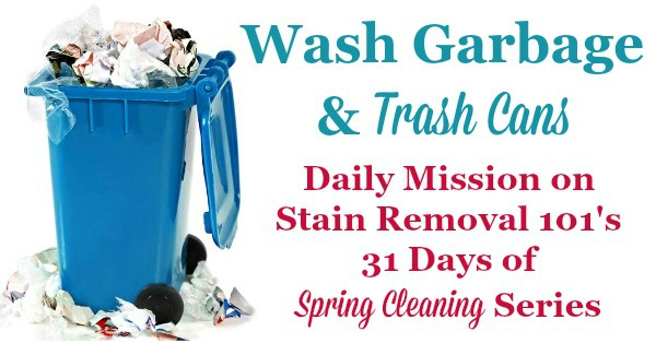 Wash garbage and trash cans, a dailty mission on Stain Removal 101's 31 Days of #SpringCleaning series