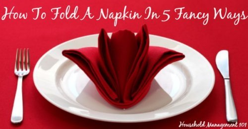 How to fold a napkin 5 fancy ways, with video instructions, for a beautiful holiday table for either Thanksgiving or Christmas {on Household Management 101} #NapkinFold #NapkinFolding #HolidayTableDecor
