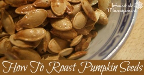 How to roast pumpkin seeds this Halloween when carving your pumpkin {on Household Management 101}