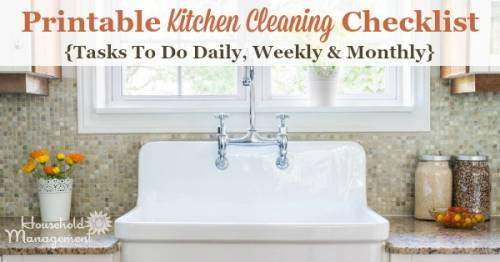 free printable kitchen cleaning checklist listing tasks to do daily weekly and monthly to keep - Kitchen Cleaning Checklist