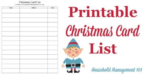 christmas card list printable plan who youll send cards to this year