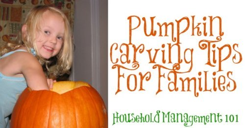 Here are some pumpkin carving tips regarding safety, design, and also making your pumpkin last, so you can have a safe and fun time with this traditional Halloween activity {courtesy of Household Management 101}