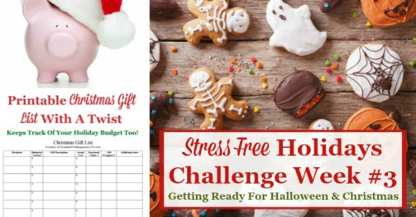 Week #3 of the Stress Free Holidays Challenge is all about Halloween and Christmas preparations, and includes free printables and organizing tips {on Household Management 101} #StressFreeHolidays #HalloweenPlanning #ChristmasPlanning