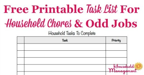 Free printable task list template to make a master list of quick household chores you need to do, so you don't forget {courtesy of Household Management 101}