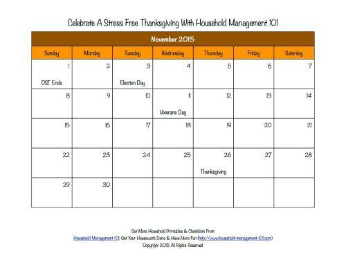 X Files Calendar : November calendar thanksgiving mini image