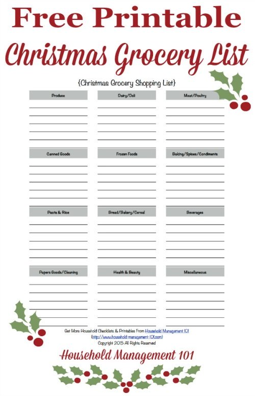 Free printable Christmas grocery list, courtesy of Household Management 101