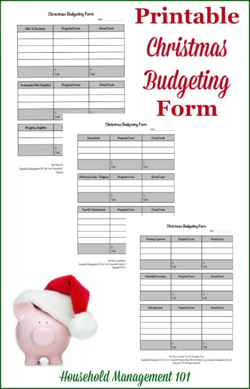 Free printable Christmas budgeting form, courtesy of Household Management 101