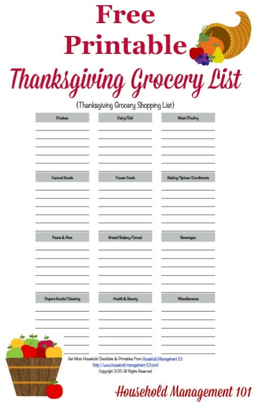 Free printable Thanksgiving grocery list, courtesy of Household Management 101 #ThanksgivingPlanner #ThanksgivingPrintables #ThanksgivingPlanning