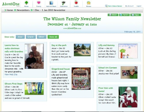 AboutOne Family Newsletter