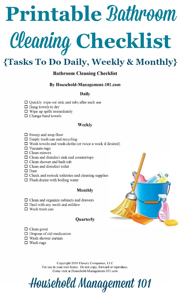 Free printable bathroom cleaning checklist, which includes daily, weekly and monthly tasks {courtesy of Household Management 101} #BathroomCleaning #CleaningChecklist #Cleaning