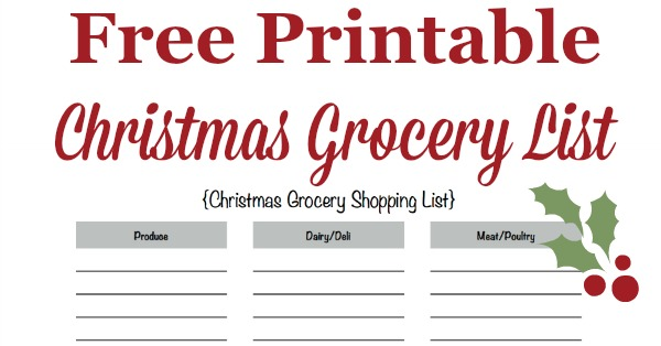 image regarding Printable Christmas Shopping List referred to as Printable Xmas Grocery Record For Your Vacation Food items
