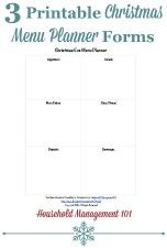 free printable Christmas menu planner forms