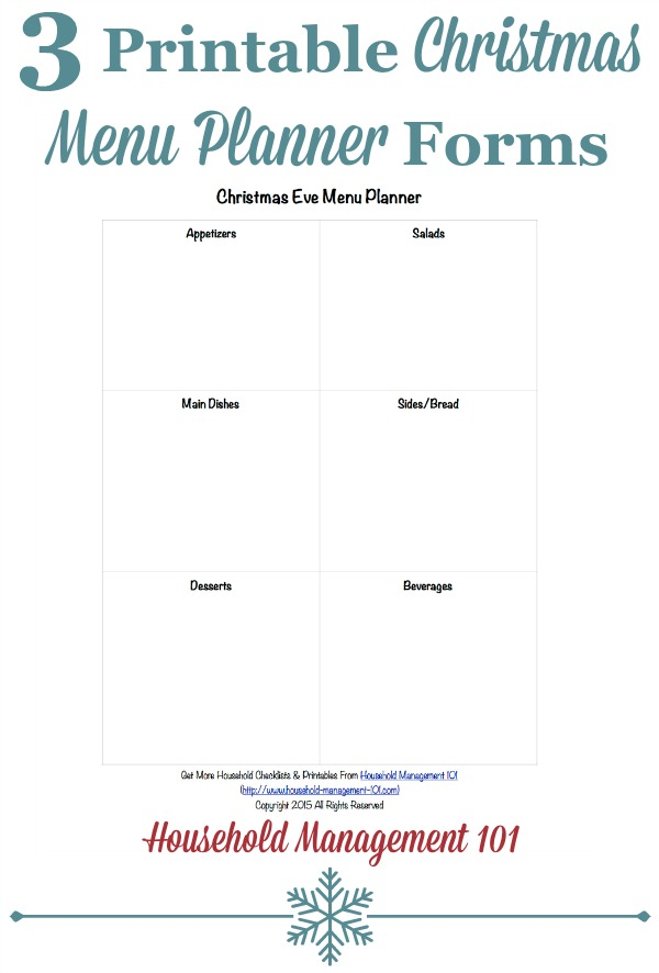 Free printable Christmas menu planner for three different Christmas meals, including for Christmas Eve, Christmas breakfast or brunch, and Christmas dinner {courtesy of Household Management 101}