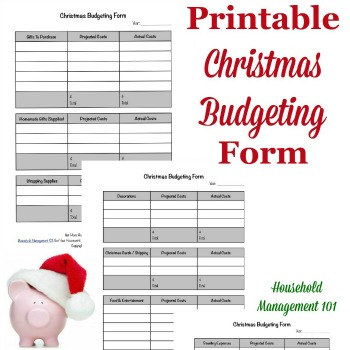 Christmas budgeting form