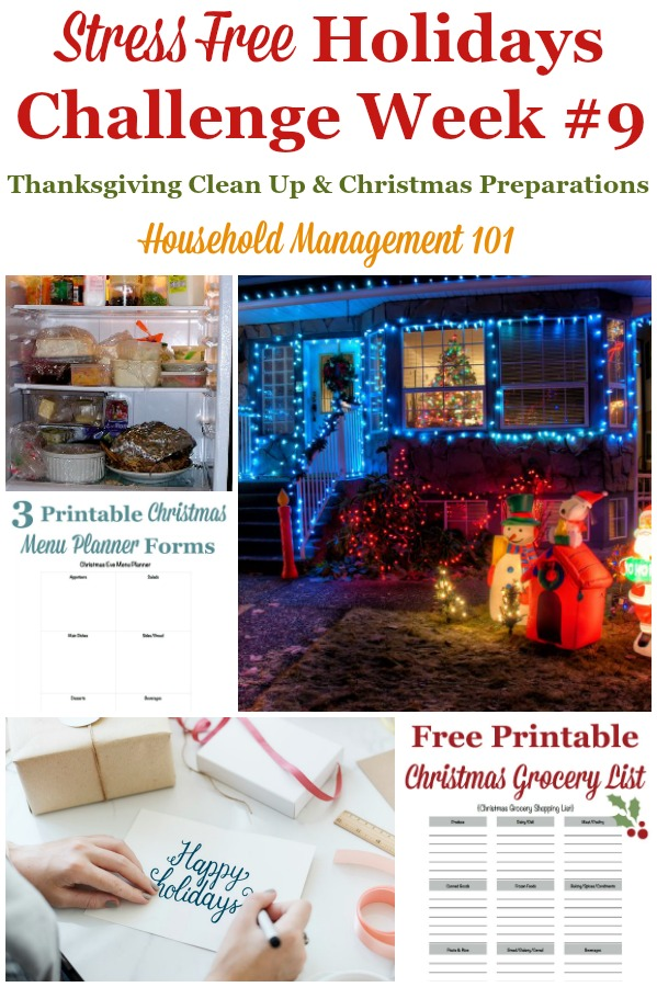 Week #9 of the Stress Free Holiday Challenge with tasks for Thanksgiving cleanup and Christmas planning for the week to have a stress free Christmas season {on Household Management 101} #ChristmasPlanning #HolidayPlanning #StressFreeHolidays