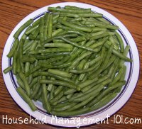 snapped and strung fresh green beans