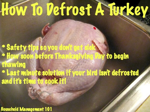 Here is the safest way to completly defrost turkey, and also to make sure you start the process soon enough to get your bird ready for Thanksgiving day {courtesy of Household Management 101} #CookingTips #ThanksgivingPlanning #TurkeyTips