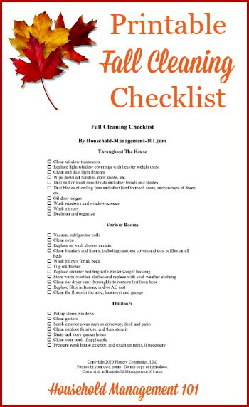 Free fall cleaning checklist printable to get your home clean and ready for colder weather {on Household Management 101} #FallCleaning #FallCleaningChecklist #CleaningChecklist