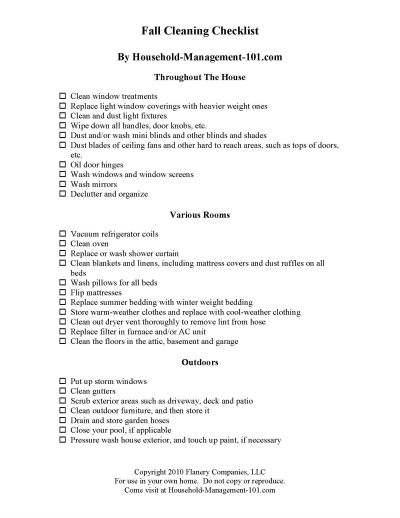 Free printable fall cleaning checklist, courtesy of Household Management 101 #FallCleaning #FallCleaningChecklist #CleaningChecklist