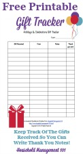 Printable Holidays & Celebrations Gift Tracker