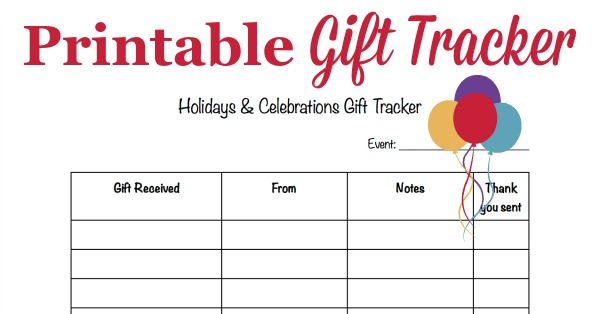 Free #printable gift tracker template to keep track of what gifts you receive so you can write thank you notes {courtesy of #HouseholdManagement101} #HolidayPrintables
