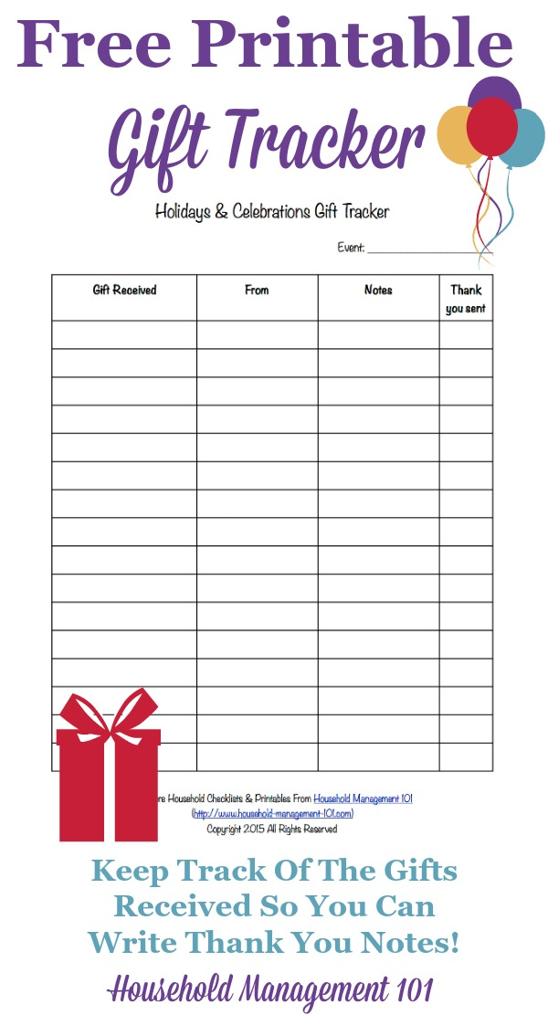 Printable holidays celebrations gift tracker remember for Wedding shower gift list template