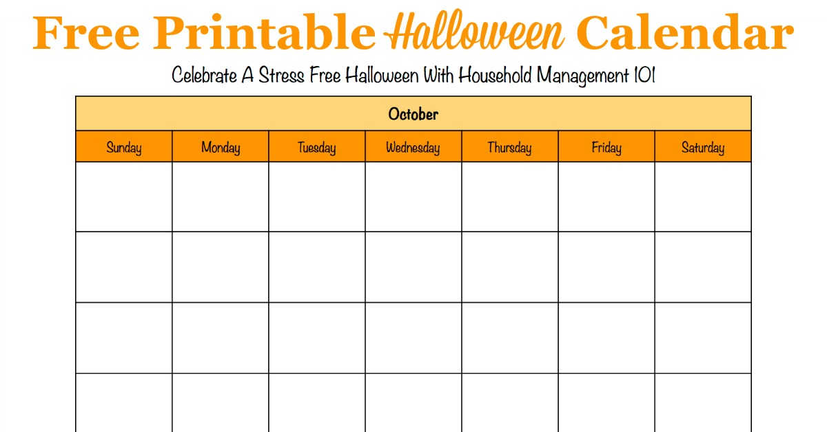 Free printable Halloween calendar for the month of October, that you can use to help plan activites and preparations for this holiday {for use in the Stress Free Holidays Challenge on Household Management 101}