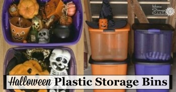 Halloween plastic storage bins