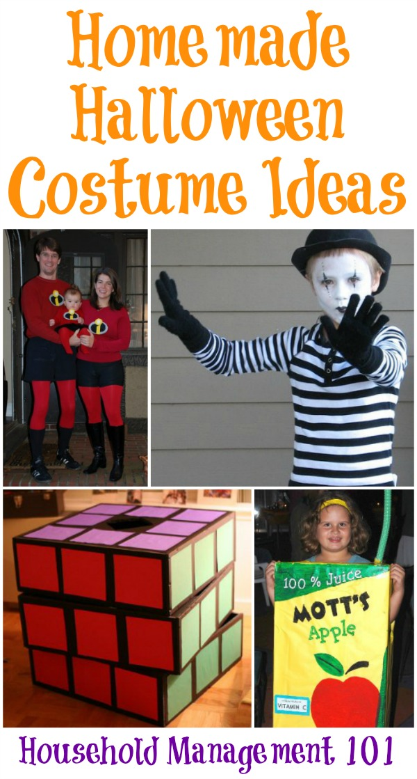 Lots of homemade Halloween costume ideas for kids and kids at heart, and includes family costumes {on Household Management 101} #HomemadeHalloweenCostumes #HomemadeCostumes #HalloweenCostumes