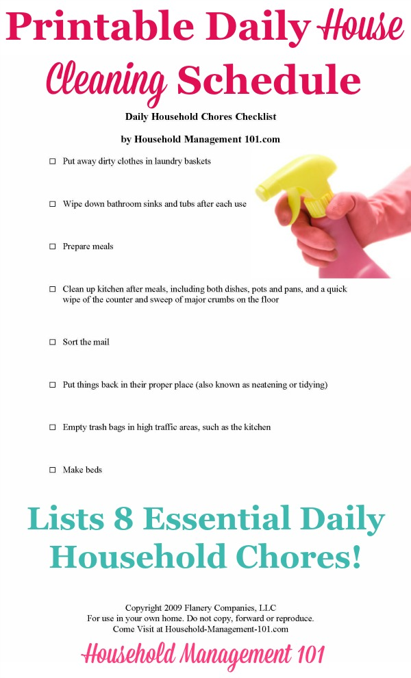 Daily House Cleaning Schedule 8 Essential Daily Household Chores – Cleaning Schedule